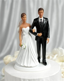 Dark Haired Bride and Dark Haired Groom Cake Topper