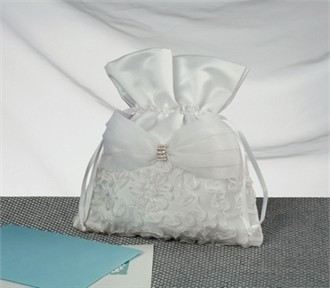 Everlasting Grace Bridal Money Bag with Lace Floral Applique and Gathered Organza