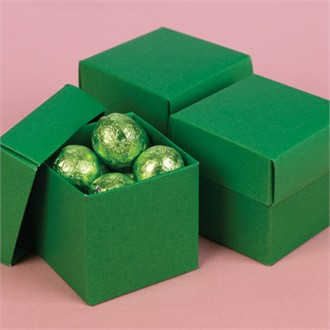 Two Piece Green Favor Boxes - Set of 25