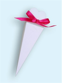 White Heart Cone Favor Boxes