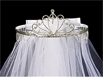 Rhinestone Tiara Veil for First Communion