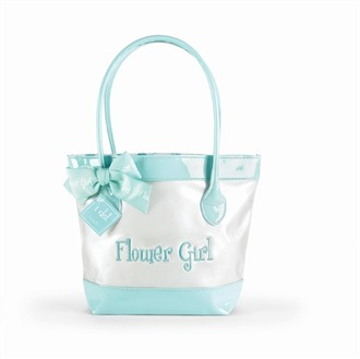Flower Girl Tote Bag - Embroidered Faux Patent Leather
