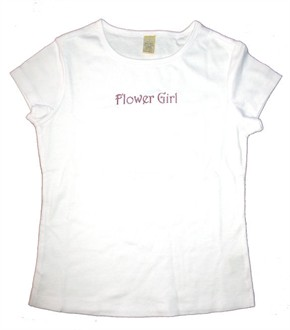 CLEARANCE Flower Girl T-Shirt with Pink Glitter Ink