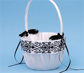 Black on White Florenzia Flower Girl Basket