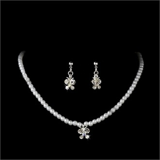 Flower Girl Butterfly Pearl Jewelry Set