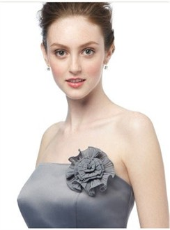 Charcoal Grey Fortuny Pleated Nu-Georgette Flower