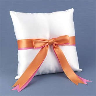 Fuchsia and Orange Ribbons Collection Ring Pillow
