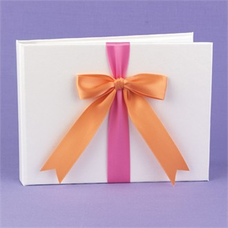 Fuchsia and Orange Ribbons Guest Book