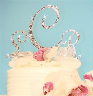 Fully Encrusted Crystal Monogram Cake Top