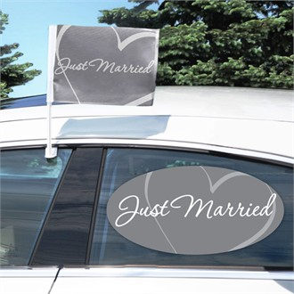 Just Married Car Flag and Window Cling
