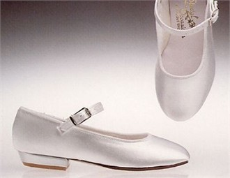 Girls' Dyeable White Satin Maryjane Pump - Dyeable Flower Girl Shoes