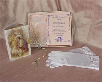Girl's Holy Communion Gift Set - Satin Gloves, Missal and Rosary