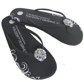 Girl Two Doors Down Diamond Brooch Flip Flops