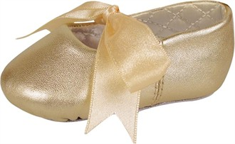 Sabrina Girls' Ballet Slippers with Ribbon Ties in Gold