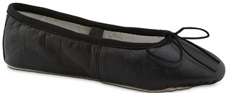 Girls Black Ballet Slippers - Black Leather Ballet Slippers