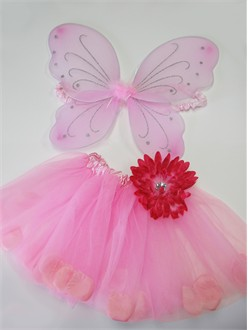 Girls Dress Up Pink Tutu and Fairy Wings Set