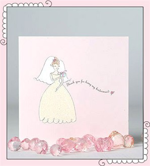 Glittery Thank You For Being My Bridesmaid Card