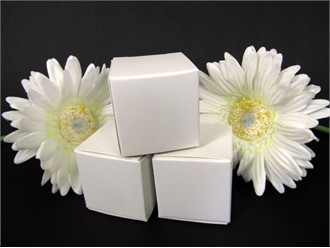 Glossy White Cube Wedding Favor Boxes