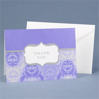 Grey and Orchid Damask Thank You Cards