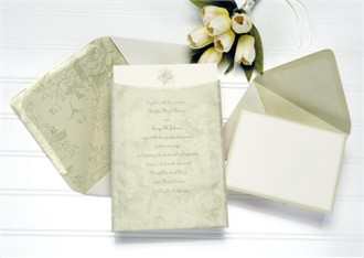 Green Floral Imprintable Invitation Kit - Set of 50