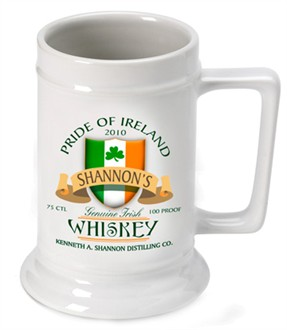 Wedding Gifts For Groomsmen Ireland : Irish Whiskey 16 oz. Beer SteinPersonalized Beer Mugs, Personalized ...