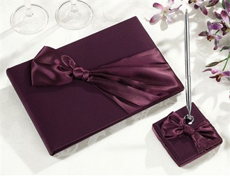 Plum Satin Guest Book and Pen Set