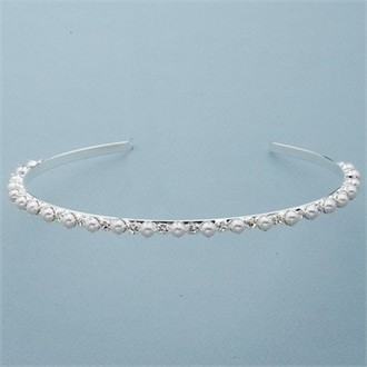 White Pearl and Alternating Crystal Silver Headband