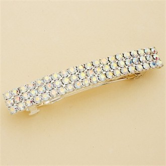 Hair Barrette: 3-Row AB Crystal Large Silver Hair Barrette