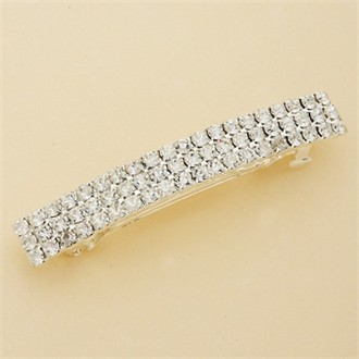 Hair Barrette: 3-Row Crystal Large Silver Hair Barrette