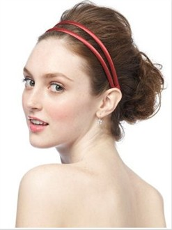 Dessy Matte Satin Headband in Firecracker