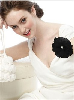 Black Tulle Flower Pin and Headpiece by Dessy