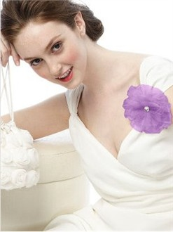 Lilac Tulle Flower Pin and Headpiece by Dessy