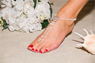 Hearts Desire Barefoot Sandals - Beach Wedding Foot Jewelry