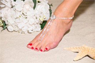 Heavenly Glow Barefoot Sandals - Beach Wedding Foot Jewelry