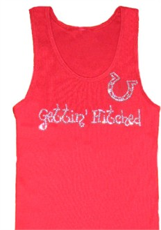 Gettin' Hitched Rhinestone Tank or Tee with Horseshoe