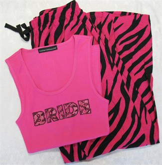 Hot Pink and Black Zebra Pajamas and BRIDE Tank or Tee
