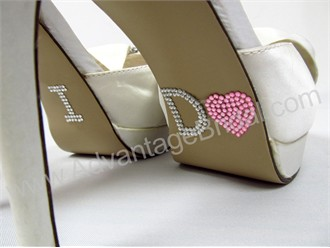 Pink Rhinestone Heart I Do Shoe Stickers - Wedding Shoe Stickers
