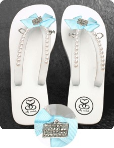 Bridal Flip Flops: I Do Pearled Sandals with Wedding Charms