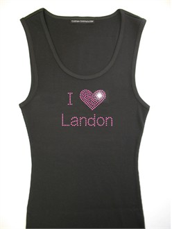 I Heart Custom Rhinestone T-Shirt or Tank Top