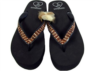 Lady Lanell's Platform Sandals with Topaz and Smoke Crystals - Factory Seconds