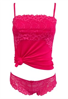 Lace Camisole and Thong Set in Hot Pink