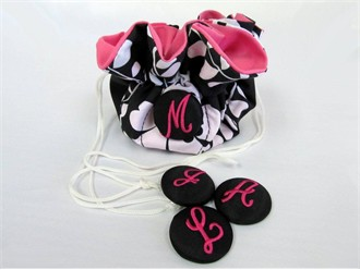 Monogrammed Initial Button Jewelry Pouch in 2 Styles