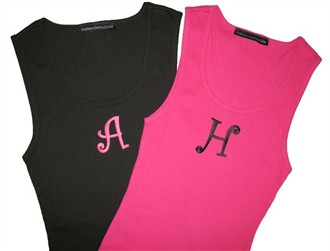 Embroidered Monogram Tank Top with Cute Curlz Initial