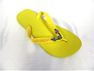 Yellow Crystal Havaianas with Crystal Flower Vine