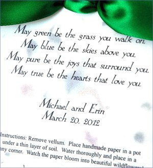 Plantable Irish Wedding Bless Card Favors