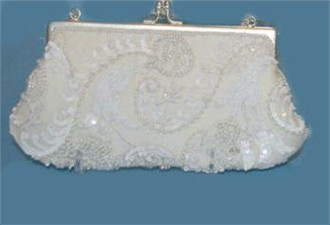 Ivory and White Wave Beaded Bridal Purse