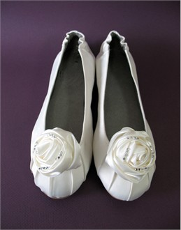 Custom Ivory Ballet Shoe with Rose in White or Ivory
