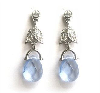 Joceline Sky Blue Crystal Drop Earrings