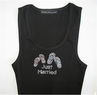 Just Married Flip Flops Tank Top or T-shirt in Crystals