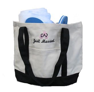 Just Married Tote Bag with Flip Flop Design